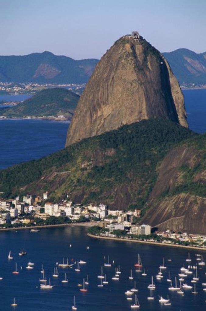 Aerial view of sailboats and mountains, Sugarloaf Mountain, Botafogo Bay, Rio de Janeiro, Brazil : Stock Photo