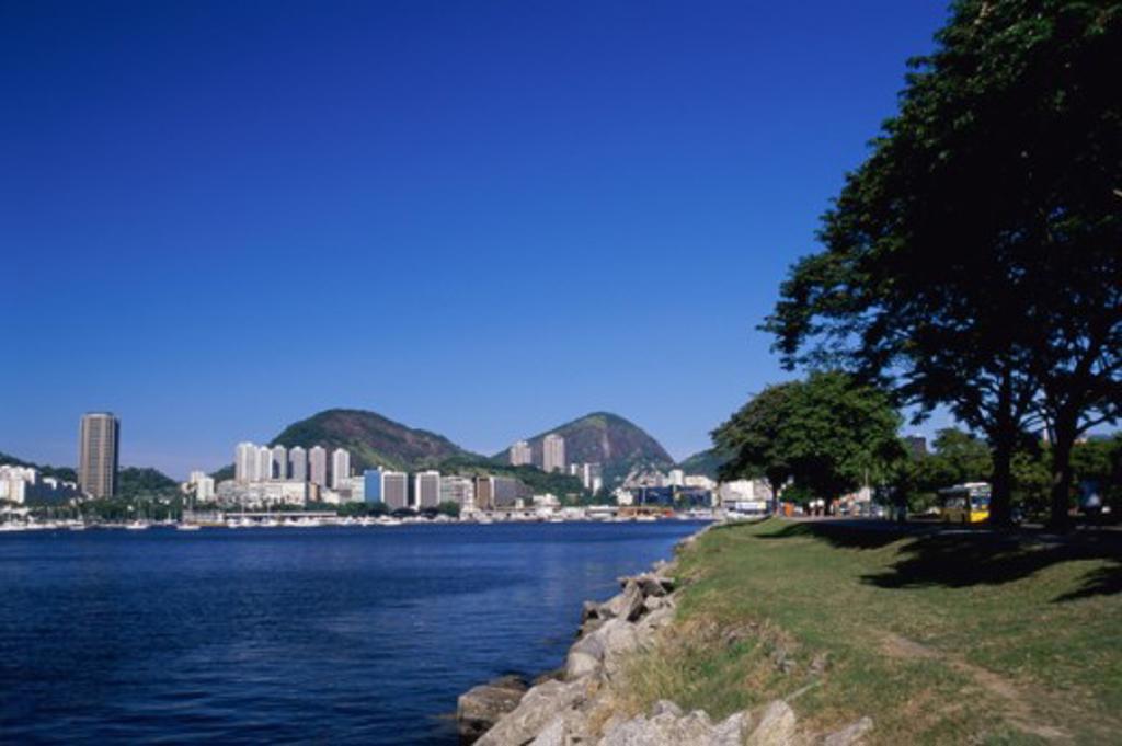 Buildings on the waterfront, Botafogo Bay, Rio de Janeiro, Brazil : Stock Photo
