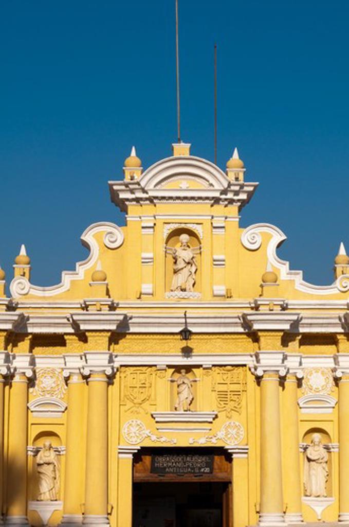 Facade of a church, San Hermano Pedro Church, Antigua, Guatemala : Stock Photo
