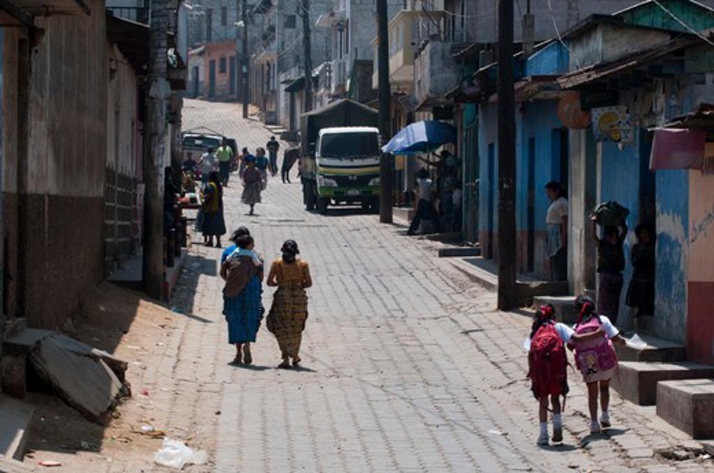 Stock Photo: 1345-1571 Street scene in a village, Santa Maria de Jesus, Antigua Guatemala, Guatemala