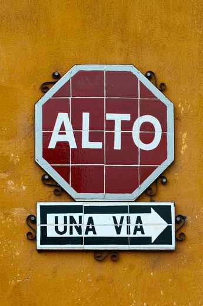 Stock Photo: 1345-1584 Close-up of Stop sign, Antigua, Guatemala