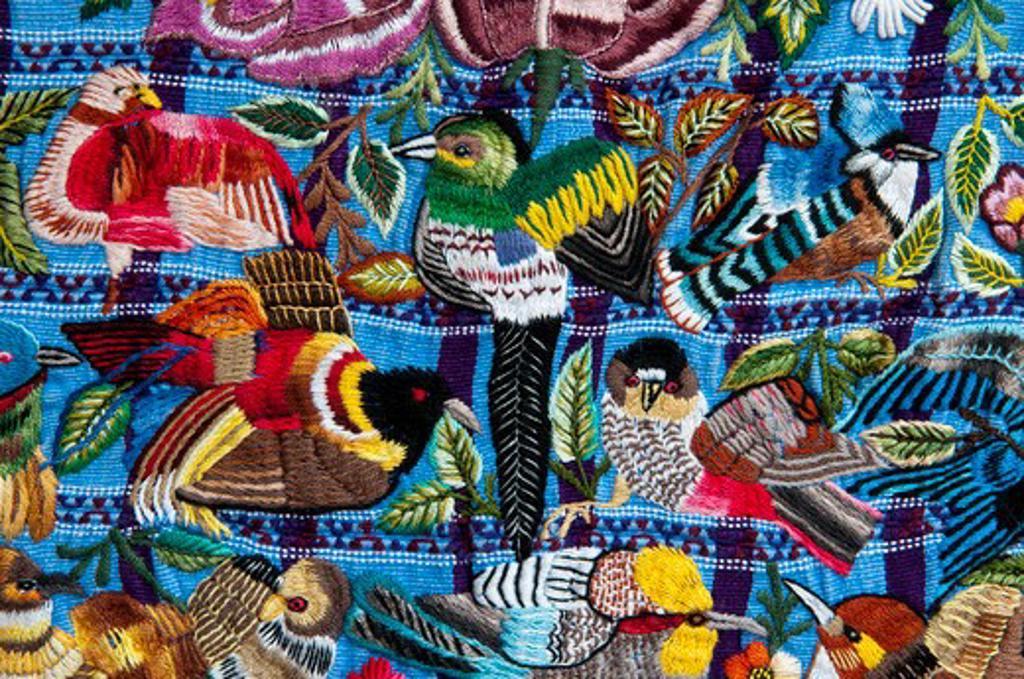 Details of a fabric, Santiago Atitlan, Lake Atitlan, Guatemala : Stock Photo