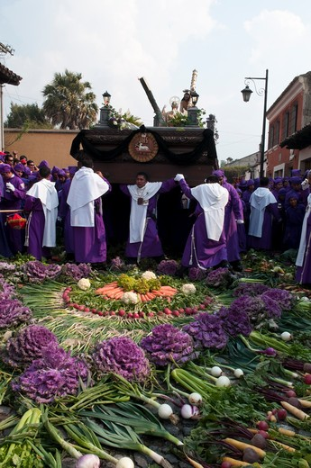 Stock Photo: 1345-1598D People celebrating Holy Week procession, Antigua, Guatemala