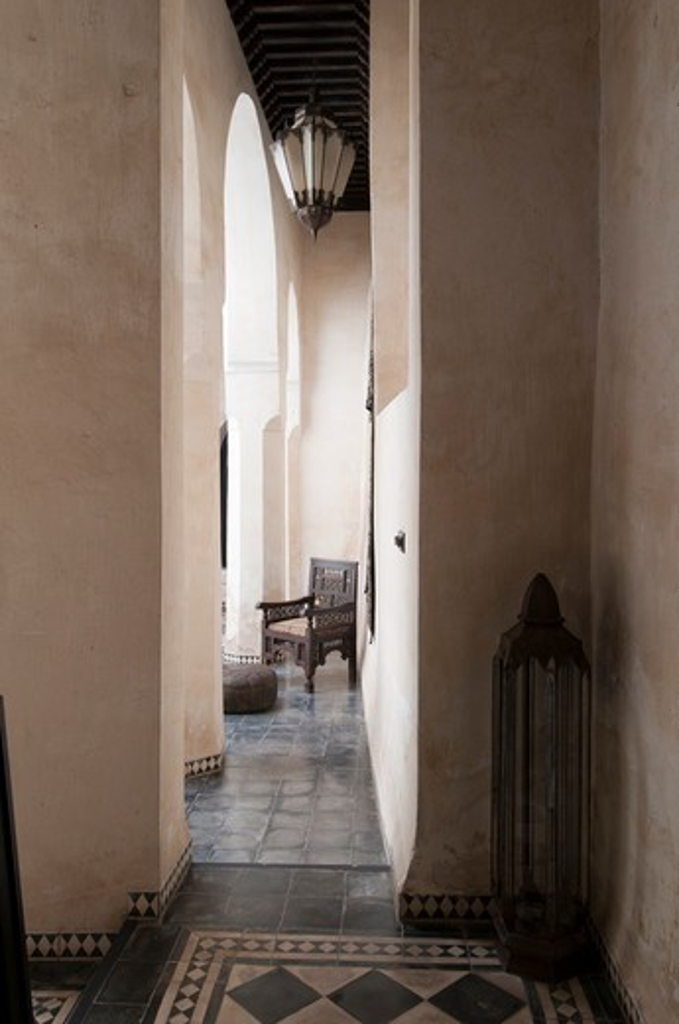 Interiors of a hotel, Dar Darma, Marrakesh, Morocco : Stock Photo