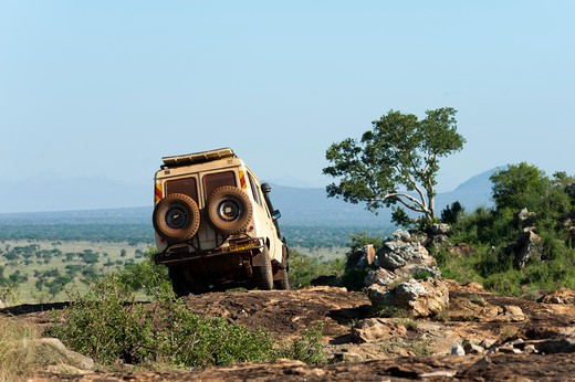 Jeep at wildlife reserve, Lualenyi Game Reserve, Kenya : Stock Photo