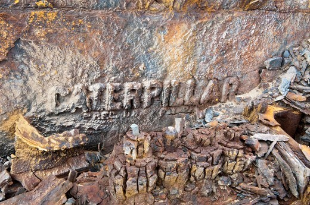 Namibia, Skeleton Coast, Skeleton Coast National Park, Close-up of earthmover wreck used in former diamond mine : Stock Photo