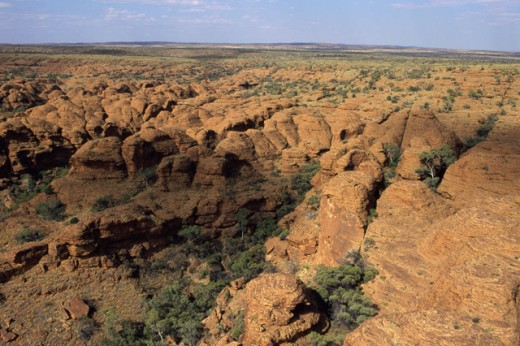 High angle view of rock formations, Kings Canyon, Watarrka National Park, Northern Territory, Australia : Stock Photo
