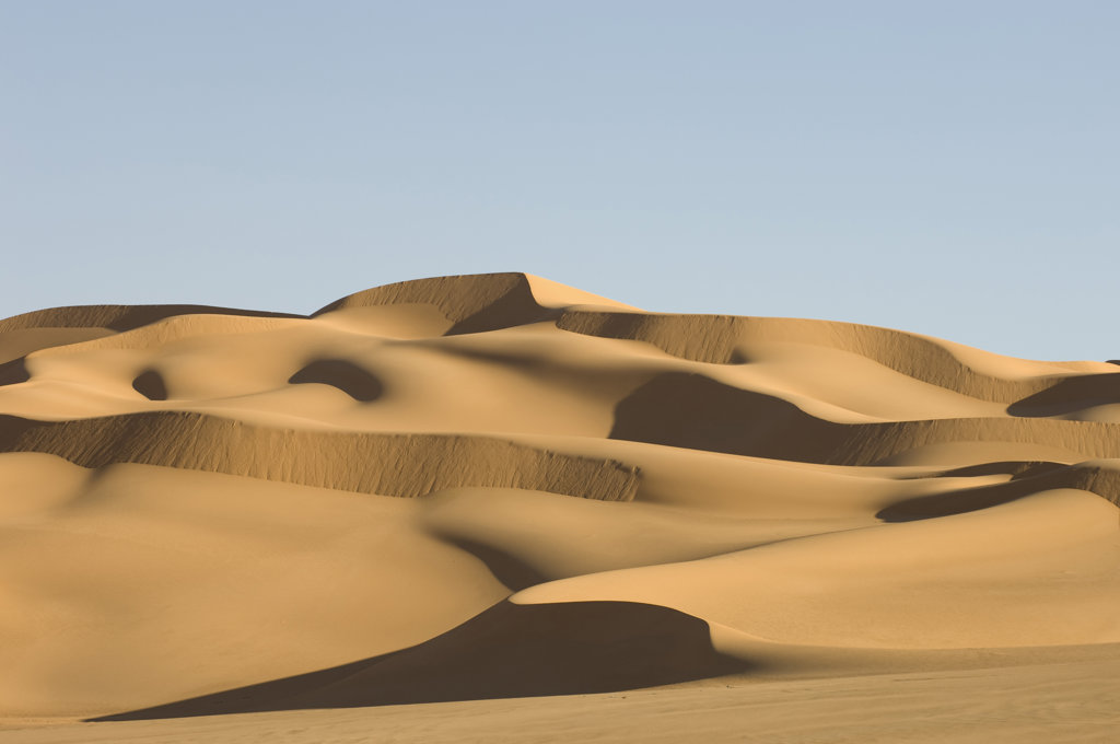 Sand dunes in a desert, Erg Awbari, Fezzan, Libya : Stock Photo