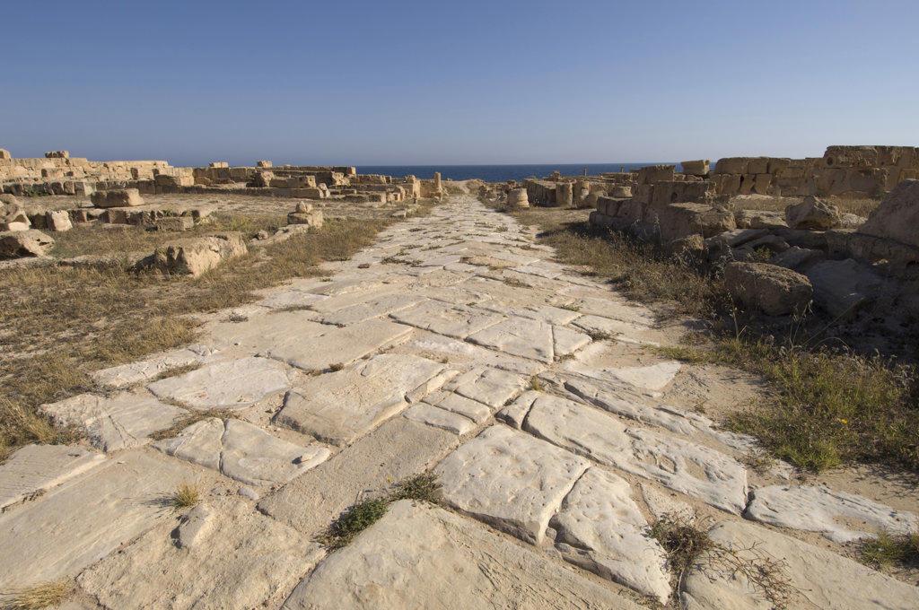 Stock Photo: 1345R-1368 Ruins of buildings in an ancient Roman city, Sabratha, Tripolitania, Libya