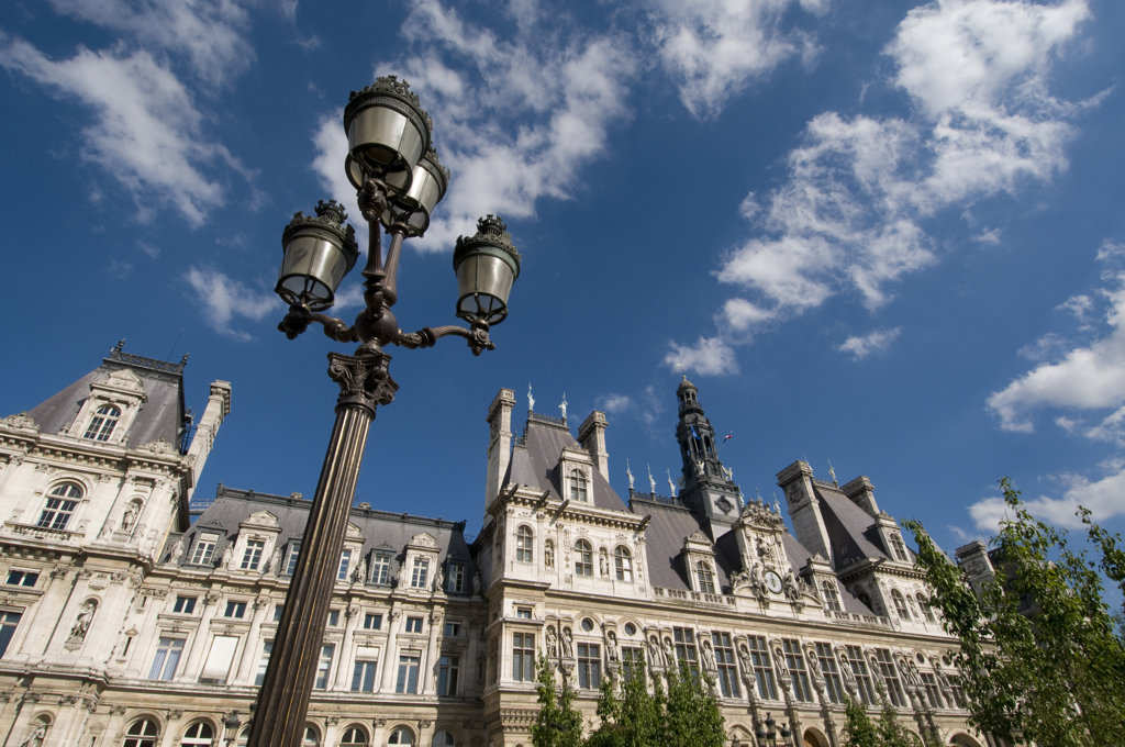 Stock Photo: 1345R-1436 Low angle view of a lamppost in front of a city hall, Hotel De Ville, Paris, Ile-de-France, France