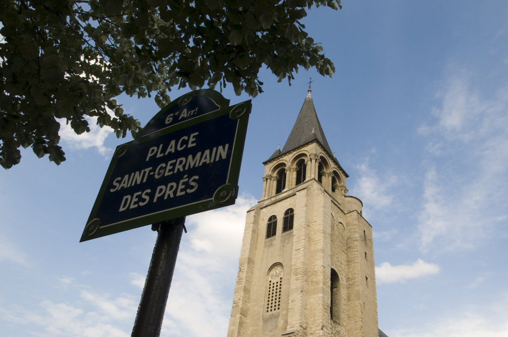 Information board in front of a church, St. Germain Des Pres, Paris, Ile-de-France, France : Stock Photo