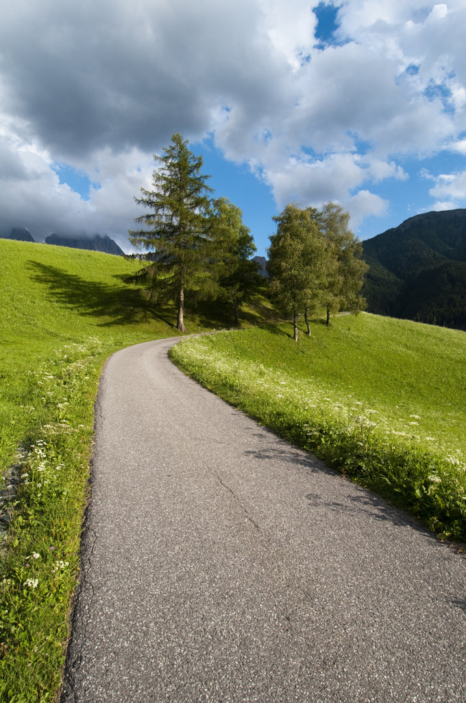 Road passing through a hill, Santa Maddalena, Funes Valley, Dolomites, Trentino-Alto-Adige, Italy : Stock Photo