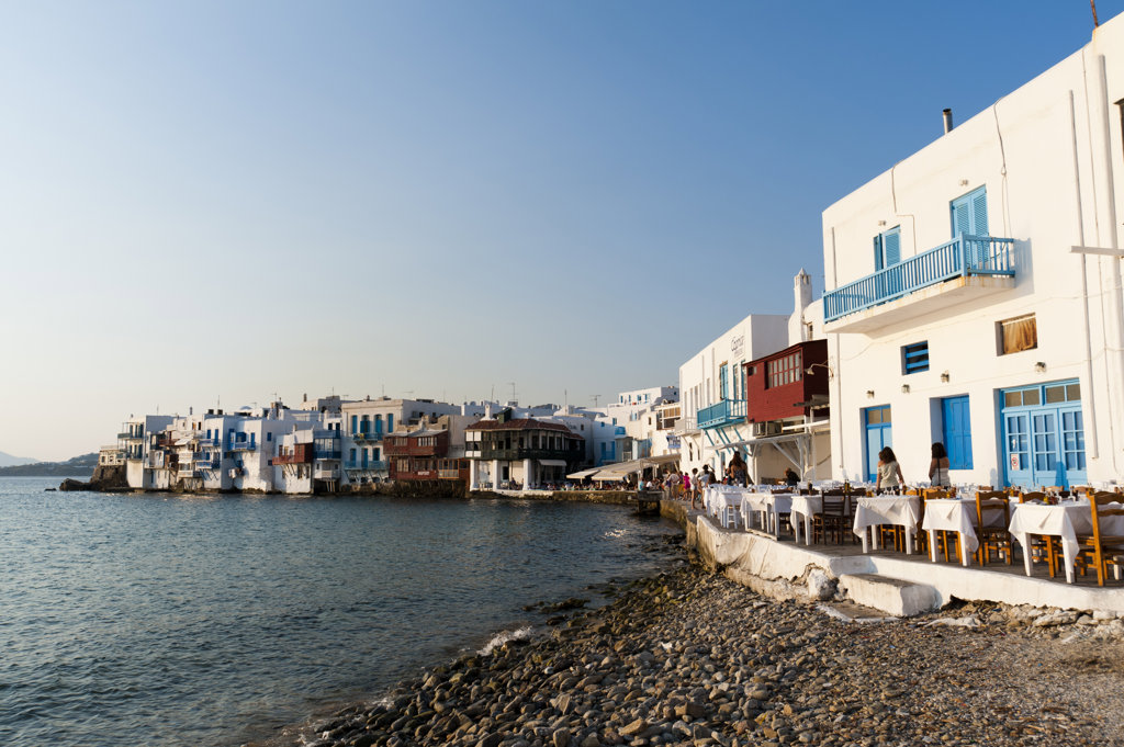 Stock Photo: 1345R-1908 Town at the waterfront, Little Venice, Mykonos Town, Mykonos, Cyclades Islands, Greece