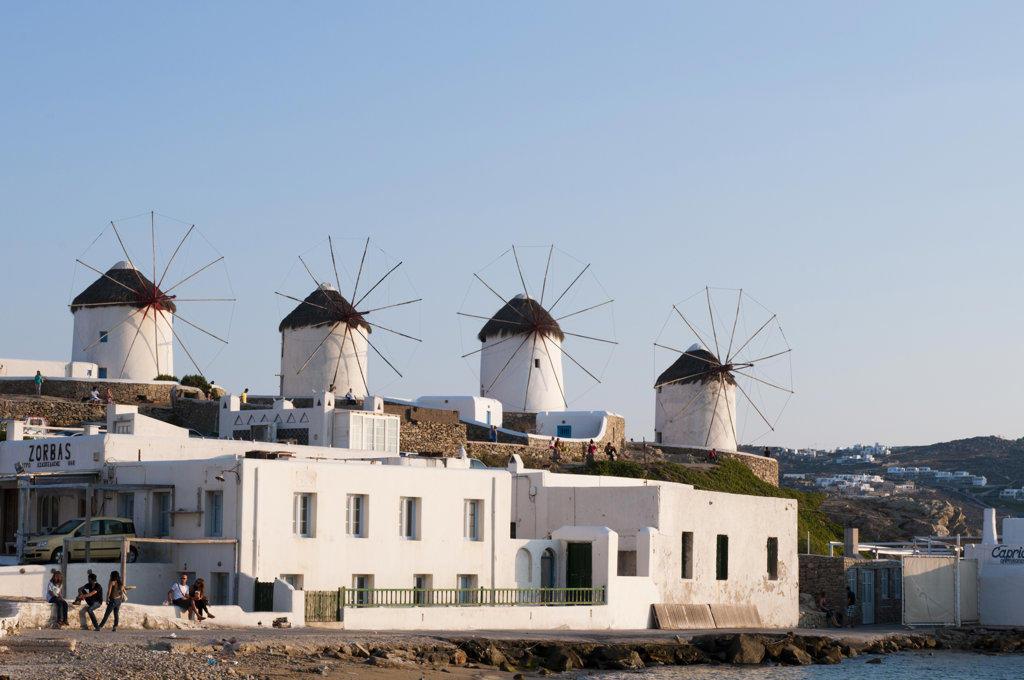 Stock Photo: 1345R-1909 Windmills in a town, Mykonos Town, Mykonos, Cyclades Islands, Greece
