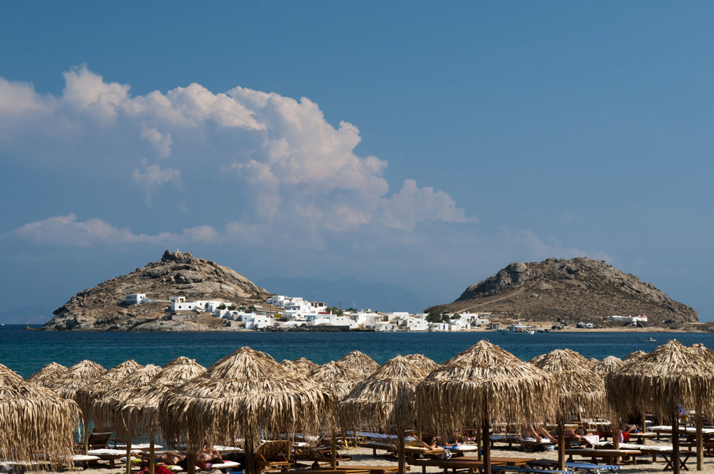 Cape Tarsanas from Kalafati Beach, Mykonos, Cyclades Islands, Greece : Stock Photo