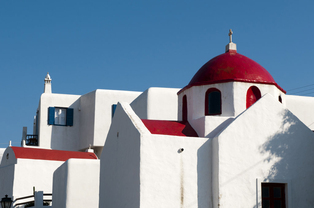 Stock Photo: 1345R-1919 Low angle view of a church, Ano Mera, Mykonos, Cyclades Islands, Greece