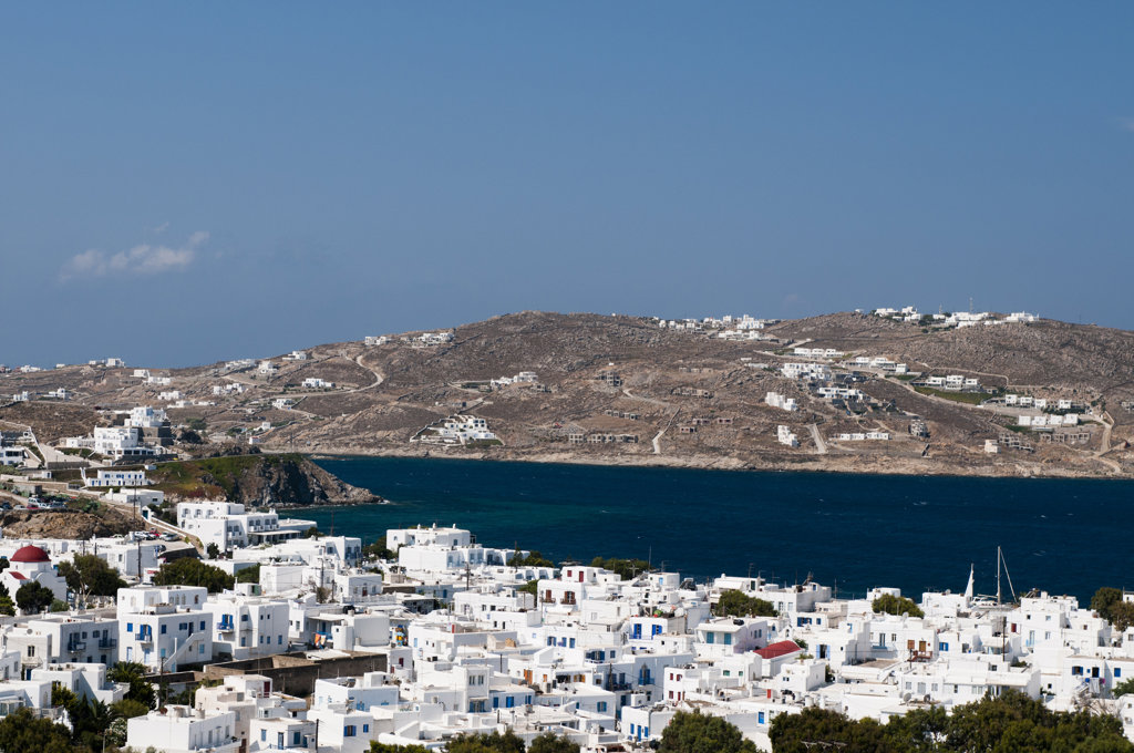 High angle view of a cityscape, Mykonos Town, Mykonos, Cyclades Islands, Greece : Stock Photo