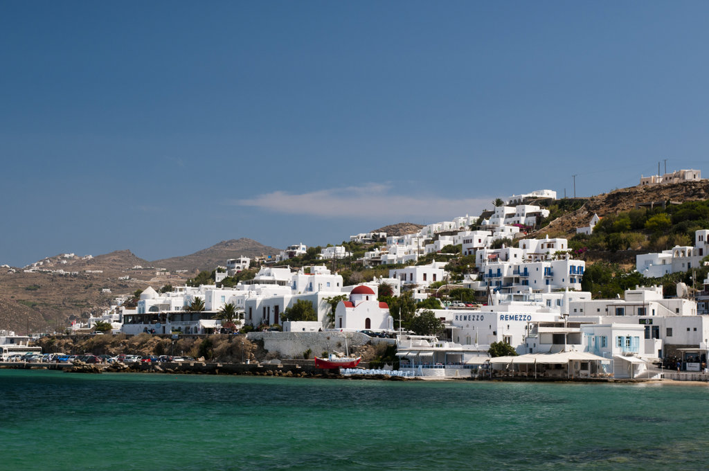 Town at the waterfront, Mykonos Town, Mykonos, Cyclades Islands, Greece : Stock Photo
