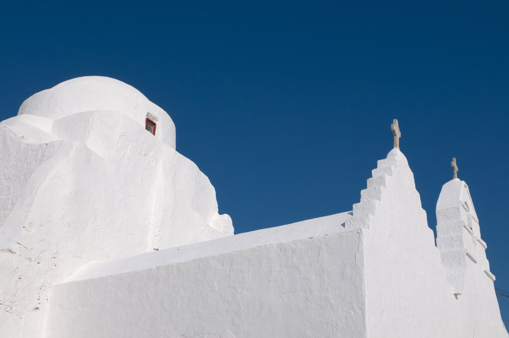 Low angle view of a church, Paraportiani Church, Mykonos Town, Mykonos, Cyclades Islands, Greece : Stock Photo