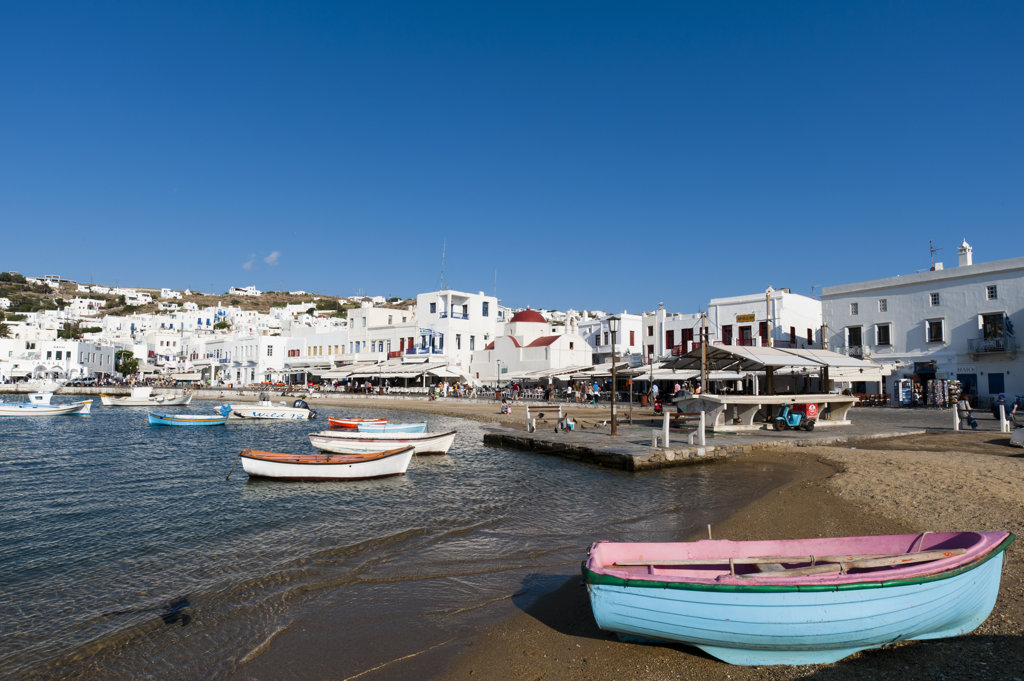 Boats moored at a harbor, Mykonos Town, Mykonos, Cyclades Islands, Greece : Stock Photo