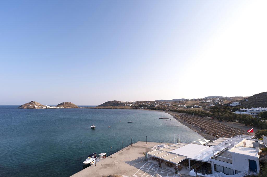 High angle view of a tourist resort, Kalafati Beach, Mykonos, Cyclades Islands, Greece : Stock Photo