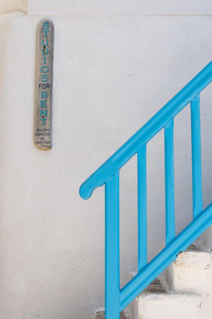 Blue bannister, Mykonos Town, Mykonos, Cyclades Islands, Greece : Stock Photo