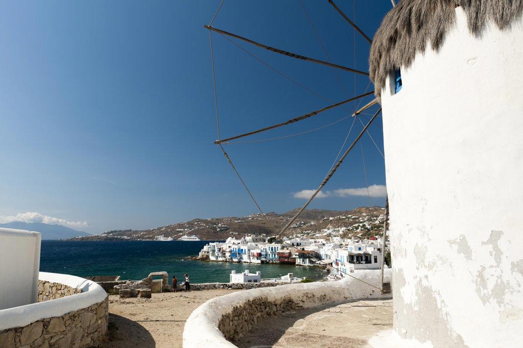 Traditional windmill, Mykonos Town, Mykonos, Cyclades Islands, Greece : Stock Photo