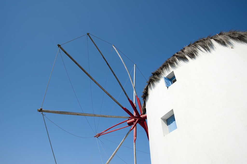 Stock Photo: 1345R-1946 Low angle view of a traditional windmill, Mykonos Town, Mykonos, Cyclades Islands, Greece