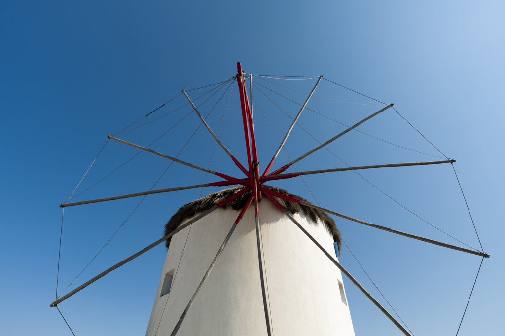 Low angle view of a traditional windmill, Mykonos Town, Mykonos, Cyclades Islands, Greece : Stock Photo