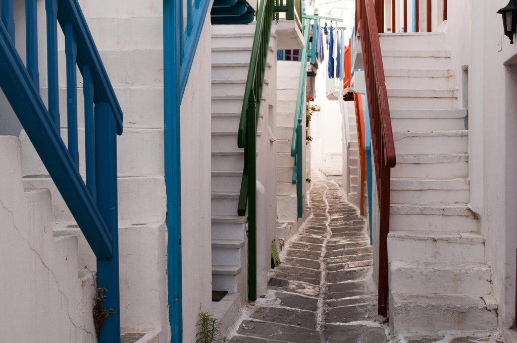 Stock Photo: 1345R-1950 Narrow alley, Mykonos Town, Mykonos, Cyclades Islands, Greece
