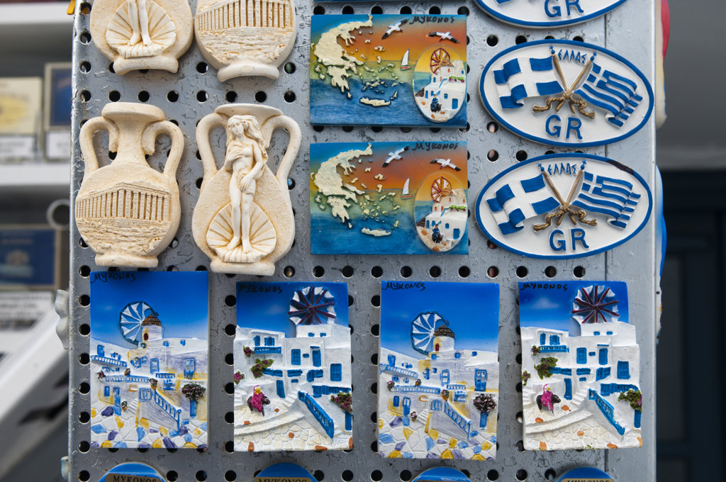 Greek souvenir at a market, Mykonos Town, Mykonos, Cyclades Islands, Greece : Stock Photo