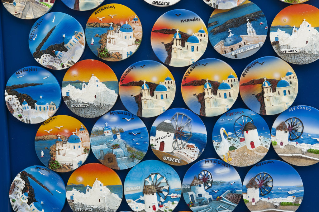 Stock Photo: 1345R-1954 Souvenir tondo at a market stall, Mykonos Town, Mykonos, Cyclades Islands, Greece