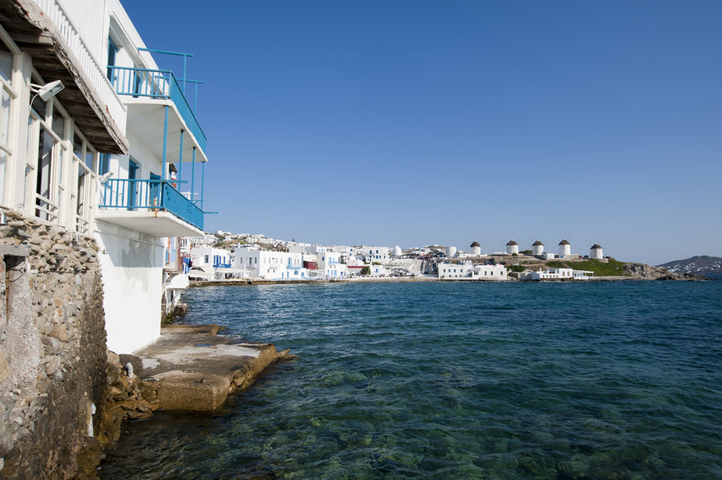 Stock Photo: 1345R-1955 Buildings at the waterfront, Mykonos Town, Mykonos, Cyclades Islands, Greece