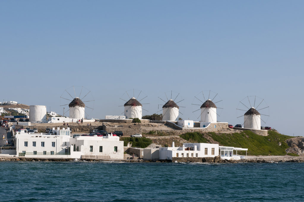 Traditional windmill on a hill, Mykonos Town, Mykonos, Cyclades Islands, Greece : Stock Photo