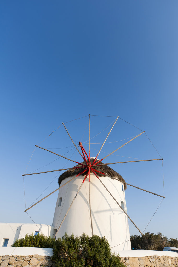 Stock Photo: 1345R-1960 Low angle view of a traditional windmill, Mykonos Town, Mykonos, Cyclades Islands, Greece