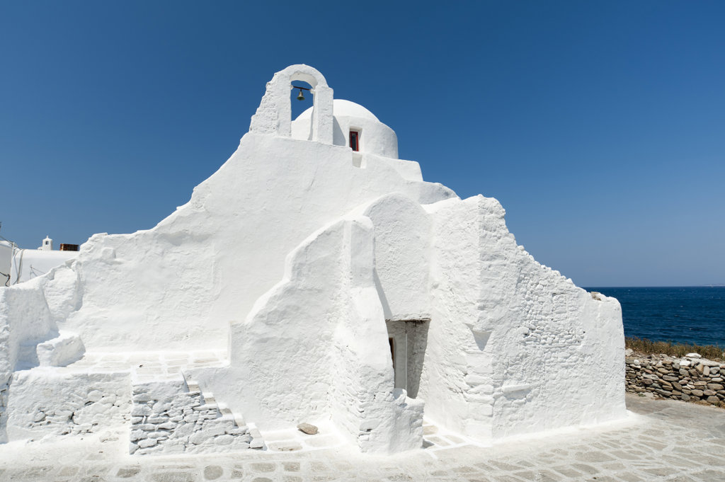 Stock Photo: 1345R-1963A White church, Paraportiani Church, Mykonos Town, Mykonos, Cyclades Islands, Greece