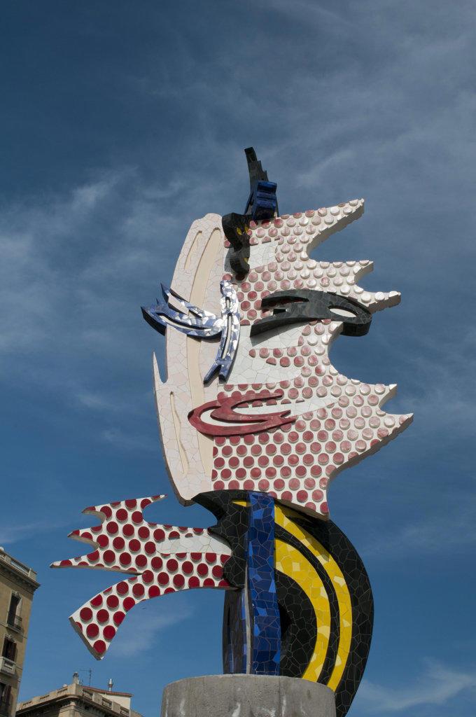 Spain, Barcelona, Placa d'Antoni Lopez, Sculpture 'Barcelona Head' by Roy Lichtenstein : Stock Photo