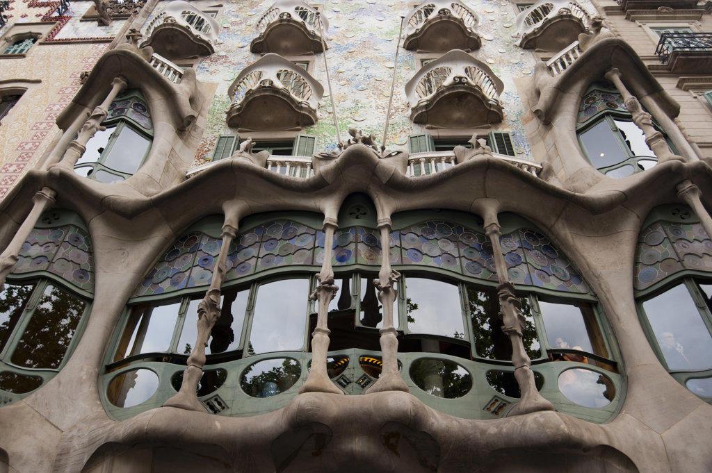 Stock Photo: 1345R-2061 Spain, Barcelona, Casa Battlo by Antoni Gaudì