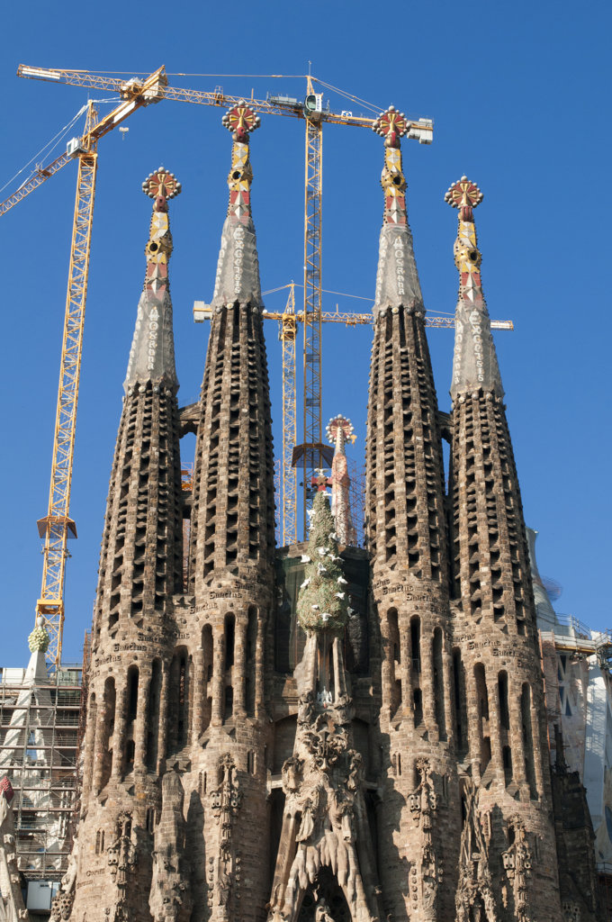 Spain, Barcelona, La Sagrada Familia by Antoni Gaudi : Stock Photo