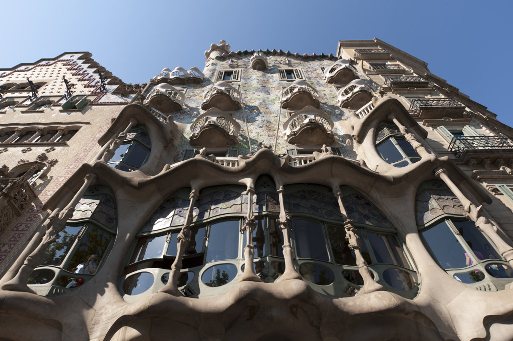 Spain, Barcelona, Passeig de Gracia, Casa Battlo by Antoni Gaudì : Stock Photo