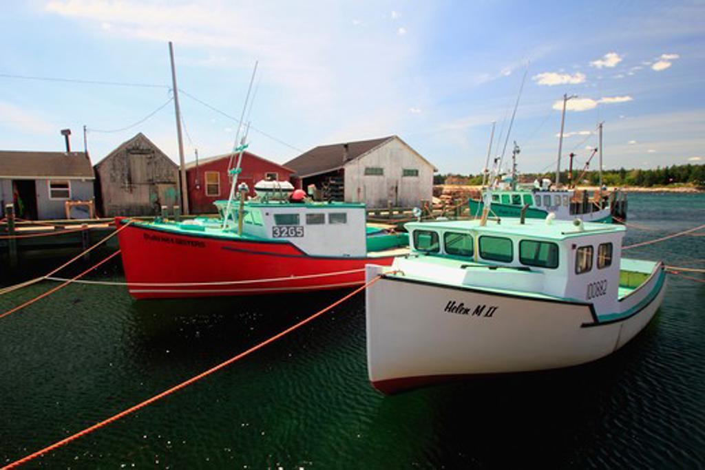 Stock Photo: 1346-1122 Fishing boats at a port, Hunts Point, Nova Scotia, Canada
