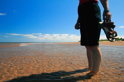 Woman standing on the beach, Covehead Bay, Prince Edward Island, Canada : Stock Photo