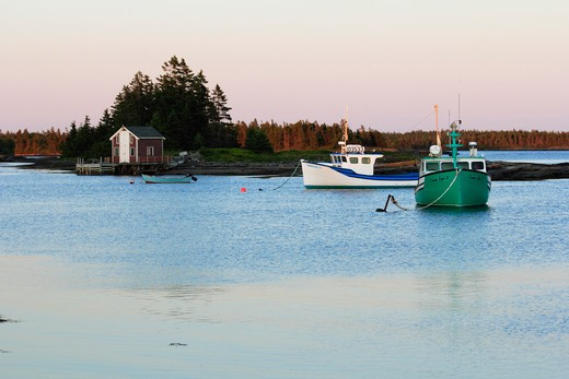 Stock Photo: 1346-1273 Fishing boat near a shack, Blue Rocks, Lunenburg, Nova Scotia, Canada