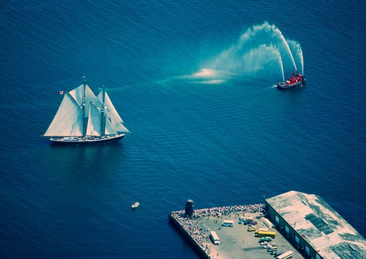 Sailboat taking part in the Parade of Sail during the tall ships festival, Halifax, Nova Scotia, Canada : Stock Photo
