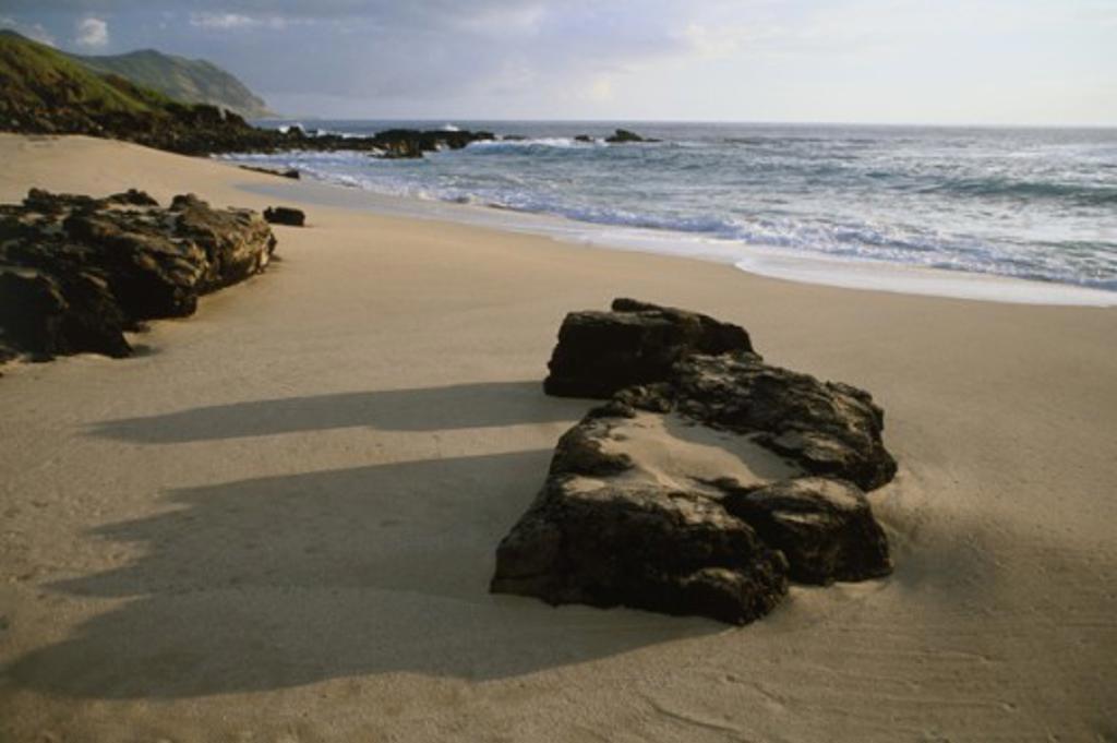 Stock Photo: 1346-452 Makua Beach Oahu Hawaii USA