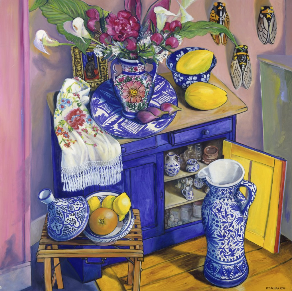 Stock Photo: 1347-142 The Open Door  1997 Isy Ochoa (b.1961/French) Oil on canvas Private Collection