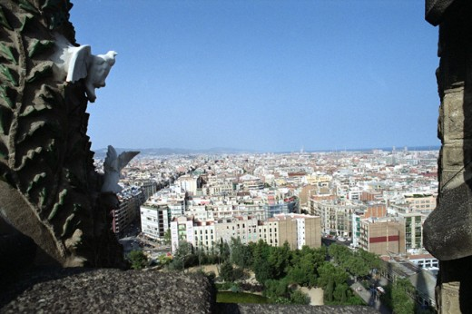 Stock Photo: 1350-248 High angle view of buildings in a city, Barcelona, Spain