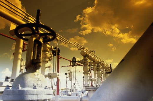 Stock Photo: 1350-271 Low angle view of pipelines at an oil refinery