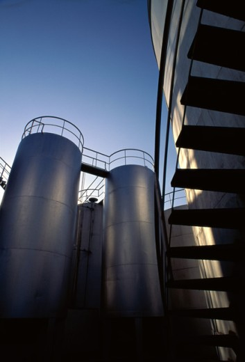 Stock Photo: 1350R-328 Fuel storage tanks at an oil refinery