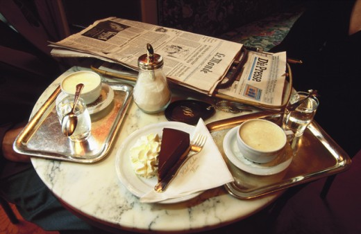 Stock Photo: 1360-188 Table at Sacher Cafe, Vienna, Austria